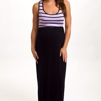 Purple-Black-Striped-Top-Maternity-Maxi-Dress