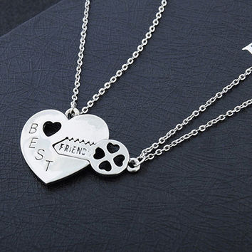 2Pcs/Set Love Heart Key Pendant BFF Best Friend Letter Carved Necklace Gift