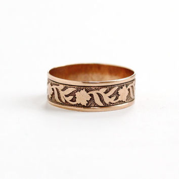 Antique Victorian 10k Rose Gold Flower & Leaf Ring - Size 4 3/4 Vintage Late 1800s Thick Cigar Style Fine Wedding Band Jewelry