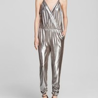 AQUA Glam Silver Lamé Crossover Jumpsuit - Bloomingdale's Exclusive | Bloomingdales's