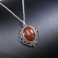 Folk Red Jasper Necklace - Natural Silver Red Stone Root Chakra Healing Pendant
