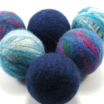 Felted Wool Dryer Balls - Blue Eco-Friendly Laundry Balls - Chemical Free Fabric Softener - cat toy - felted wool Laundry Balls