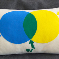 $28.00 You and Me Venn Diagram Pillow Perfect for by diffractionfiber
