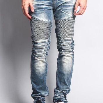 Men's Washed Biker Twill Denim Jeans DL1084 - II1F