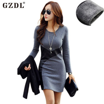 GZDL Plus Size Women Autumn Winter Dress Long Sleeve PU Leather Bodycon Pencil Casual Party Cocktail Mini Dress Vestido CL2116