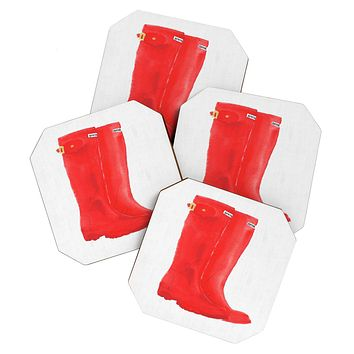 Laura Trevey Red Boots Coaster Set
