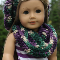 beret style crochet slouch hat with infinity scarf, purple, ivory, green mix 18 inch doll clothes American girl Maplelea