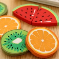 1pc packCute Fresh Fruit design eraser Kawaii Watermelon Orange Kiwifruit erasers students' gift prize office school supplies