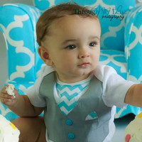 Baby Boy Vest with Tie Bodysuit...Baby Wedding Outfit...Baby Boys 1st Birthday Outfit...Boys Cake Smash Outfit..Boys Chevron Birthday