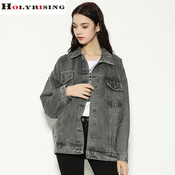 2017 spring vintage women denim jackets frayed jeans Bf Style coats loose female cowboy outerwear smoky gray Hot Holyrising