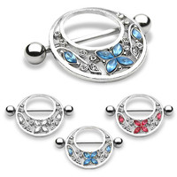 Butterfly Nipple Sheild Nipple Barbell 14ga Surgical Steel Nipple Rings