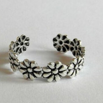 Retro Casual Old Silver Toe Rings Flower Tail Ring Adjustable Gift-226