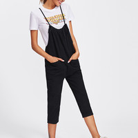 Self Tie Crop Pinafore JumpsuitFor Women-romwe