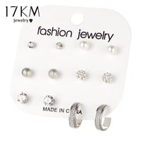 17KM Vintage Bohemian Clip On Heart Luxury Earring Set Big Crystal Simulated Pearl Stud Earrings For Women Jewelry 6 Pairs/Set