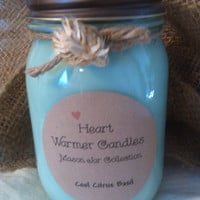 12 oz mason jar candle scented with Cool Citrus Basil.  A great Spring scent!