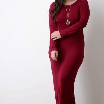 Jersey Round Neck Long Sleeves Maxi Dress