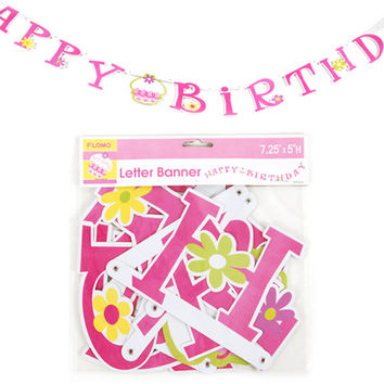 Happy Birthday Pink Cupcake Jointed Letter Banner Case Pack 36