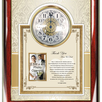 Parents Thank You Wedding Gift Clock Picture Frame