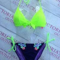 New Sexy Victoria's Secret Neon Margarita Green Triangle Push Up Bikini Set