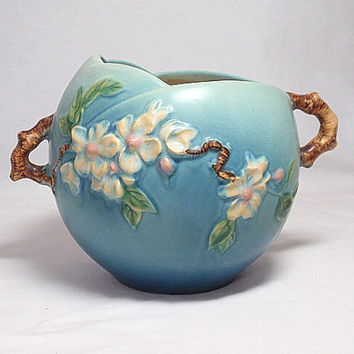 Roseville Apple Blossom Blue Bowl, roseville pottery, ohio pottery
