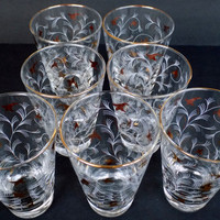 Mid Century Libbey Royal Fern Gold and White Bar Glasses - Fifties Every-day Crystal Collection - Cooler Beverage Tumblers - Set of 7