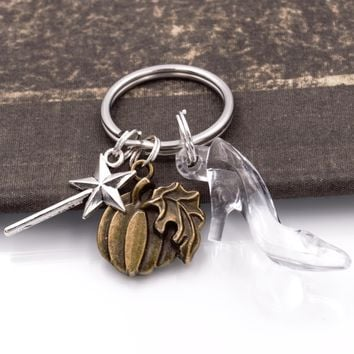 Cinderella Glass Slipper Key Chain with Magic Wand & Pumpkin Charms
