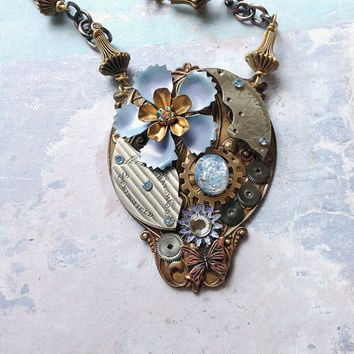 Steampunk Flower Necklace Steampunk Enamel by bionicunicorn