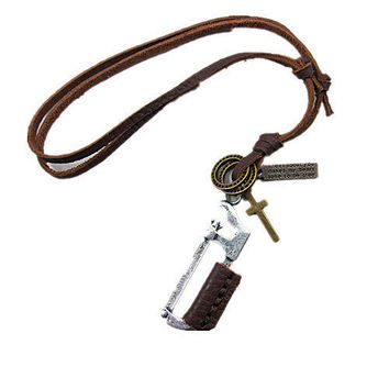 soft leather necklace saw pendant men leather long necklace, women leather necklace  PL00342
