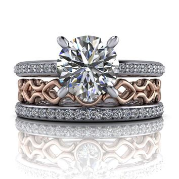Diamond Engagement Ring - Stacking Wedding Bands - Moissanite Ring - Insieme™ Bridal Stackables