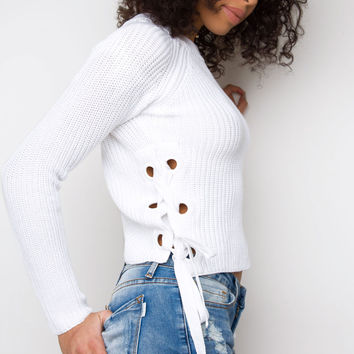 Free Fall Lace Up Sweater - White