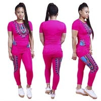Dashiki Print Top and Pants Fitting Set