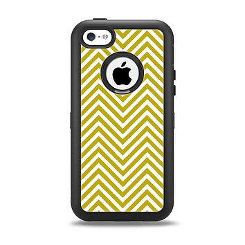 The White & vintage Green Sharp Chevron Pattern Apple iPhone 5c Otterbox Defender Case Skin Set