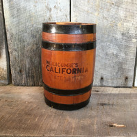 Vintage widdicombes California dates and brandy, wood barrel,rustic wood decor,
