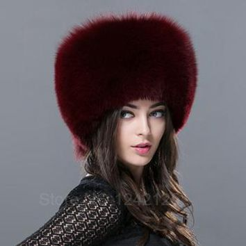 Women's Real Fox Genuine Leather Bomber Hat with Ear Protection