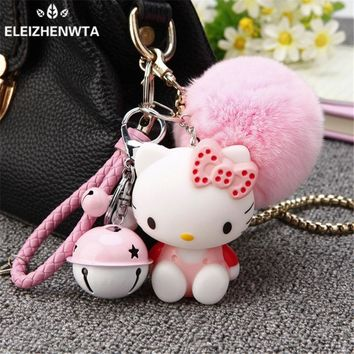 Rex Rabbit Fur Pom Pom bag Keyring keychain Gift Genuine Round fur puff ball Fluffy Hello Kitty With Bell And Leather Strap New