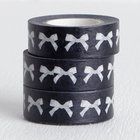 Black and White Bow Washi Tape, Delicate Feminine Washi, 15mm x 10m