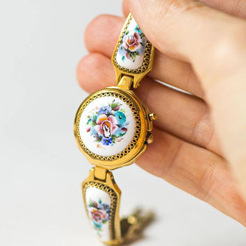 Women's watch floral bracelet, quartz wristwatch Ray for lady, covered face watch, enamel roses bracelet watch gift, watch bracelet filigree