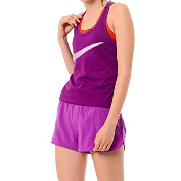 Nike Dri-FIT Women's Swoosh Racerback Tank Top (Large, Purple - Violett/Schwarz)