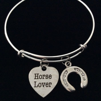 Horse Lover Crystal and Silver Horse Shoe Charm Silver Expandable Adjustable Wire Bangle Bracelet Stacking Handmade Trendy Gift
