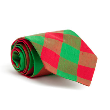 Green & Red Check Holiday Silk Tie