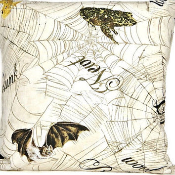 Halloween Pillow Cover Spider Web Newt Frog Bat Beige Brown Decorative Repurposed 18x18