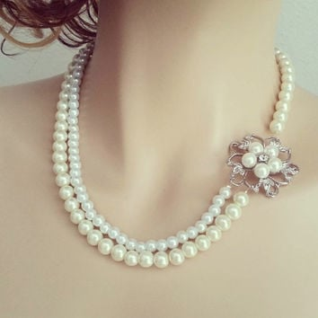 Pearl Bridal Necklace Wedding Rhinestone Pearl Necklace, Bridal Statement Necklace Vintage Inspired Brooch Classic Wedding Jewelry, SARAH