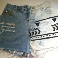 Aztec Inspired Studded Denim Bleached Shorts