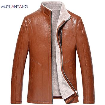 Casual Warm Faux Fur Coat Men's Leather Jackets Winter Thicken Jacket Men Faux Leather Overcoat