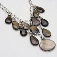 Smoky Quartz Sterling Silver Statement Necklace
