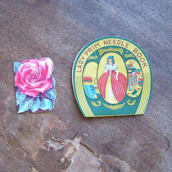 Occupied Japan-Made Lady Prim Needle Folder + Rose-Shaped, 1950s Advertising Needle Book for Stanley Home Products~Figural Needle Bk