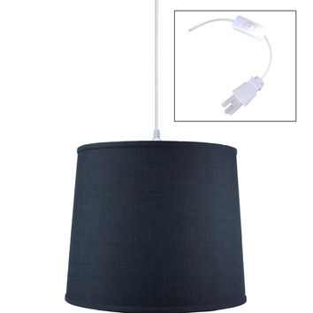 0-008464>Textured Slate Blue 1 Light Swag Plug-In Pendant Hanging Lamp 12x14x10