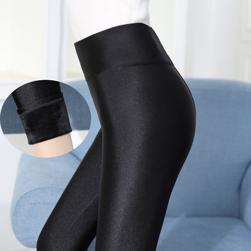 Winter High Waist Plus Size Soft Cozy Stretchy Warm Fleece Leggings [9632121743]