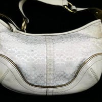 100% Authentic COACH purse White Canvas and Leather   FREE SHIPPING!!!