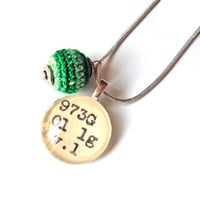 Emerald Green Grass Crochet Ball Drop Dewey Decimal Necklace Sterling Silver Chain One of a Kind